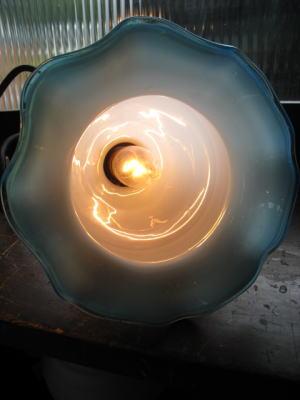 1950's青縁チューリップペンダントライト  写真4枚目 アンティーク照明 ビンテージ ランプ