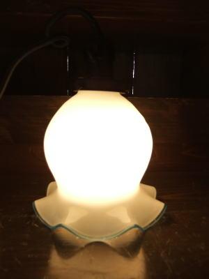 1950's青縁チューリップペンダントライト  写真3枚目 アンティーク照明 ビンテージ ランプ