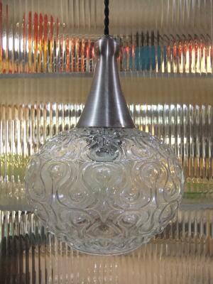 日本製 1970sアンティーク照明 ビンテージペンダントライト 幾何学模様 ランプ 福岡 写真2枚目