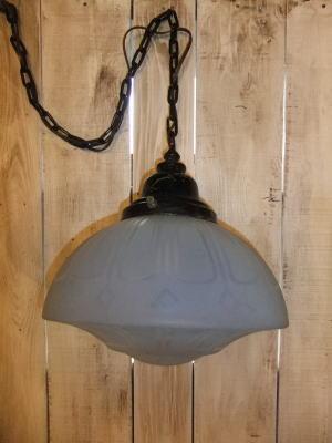 大正ロマンブルーペンダントライト 写真7枚目 アンティーク照明 ビンテージ ランプ 福岡