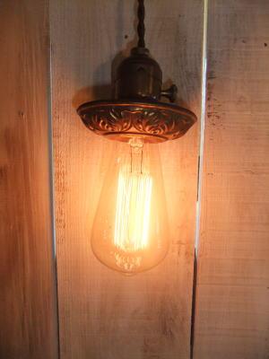 米国製 1920sアンティーク照明 ビンテージペンダントライト フラワーカバーランプ 写真6枚目
