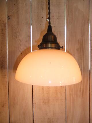 日本製 1930s大正ロマンアンティーク照明 ビンテージペンダントライト ミルクガラス ランプ 写真1枚目