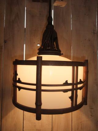 1940's和風竹枠ペンダントライト  写真4枚目 アンティーク照明 ビンテージ ランプ