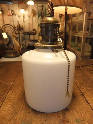 米国製 1940sアンティーク照明 ビンテージミルクガラスペンダントライト ランプ 写真2枚目