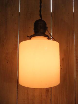 米国製 1940sアンティーク照明 ビンテージミルクガラスペンダントライト ランプ 写真6枚目