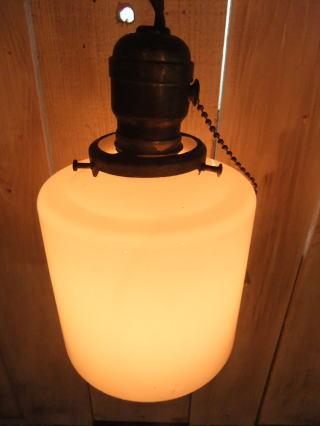 米国製 1940sアンティーク照明 ビンテージミルクガラスペンダントライト ランプ 写真5枚目