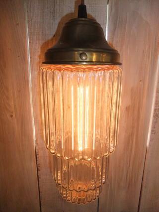 米国製 1970sアールデコシェード アンティーク照明 ビンテージペンダントライ ランプ 福岡 写真2枚目