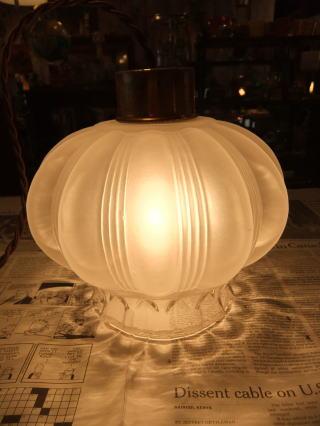 ロマンチック擦りガラスペンダントライト 6枚目の写真 アンティーク照明 ランプ 福岡