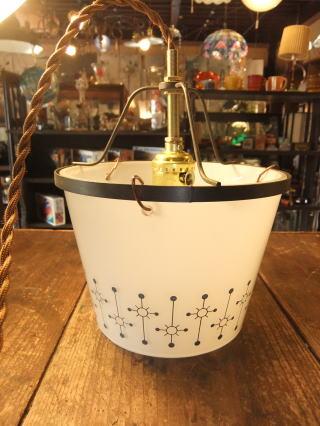 1950's幾何学模様ペンダントライト アンティーク照明 ランプ ビンテージ