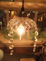 日本製 1960sアンティーク照明 ビンテージクリスタルライト ガラスランプ 福岡