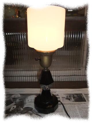 日本製 1950sブラックガラススタンドライト アンティーク照明 ビンテージライト デスクランプ 福岡