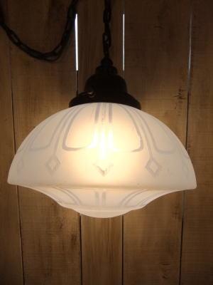 大正ロマンブルーペンダントライト 写真8枚目 アンティーク照明 ビンテージ ランプ 福岡