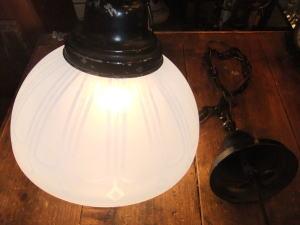 大正ロマンブルーペンダントライト 写真3枚目 アンティーク照明 ビンテージ ランプ 福岡