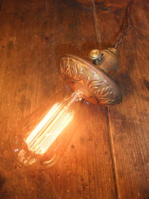 米国製 1920sアンティーク照明 ビンテージペンダントライト フラワーカバーランプ 写真1枚目
