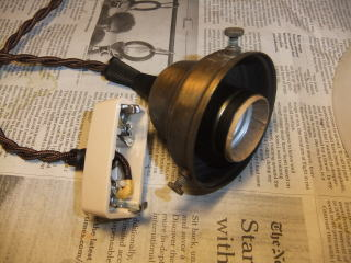 日本製 1930s大正ロマンアンティーク照明 ビンテージペンダントライト ミルクガラス ランプ 写真7枚目