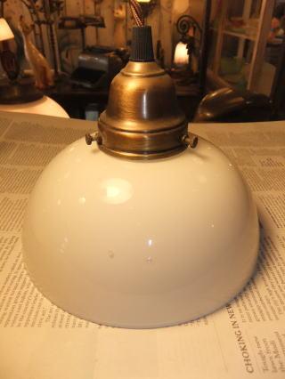 日本製 1930s大正ロマンアンティーク照明 ビンテージペンダントライト ミルクガラス ランプ 写真2枚目