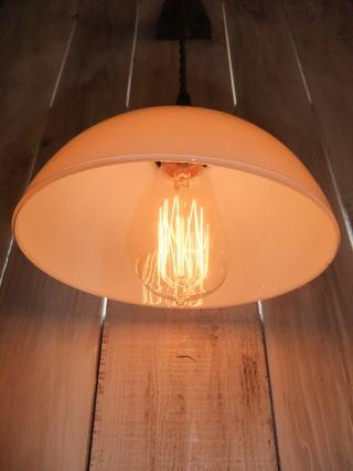 日本製 1930s大正ロマンアンティーク照明 ビンテージペンダントライト ミルクガラス ランプ 写真3枚目