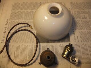 日本製 1930s大正ロマンアンティーク照明 ビンテージペンダントライト ミルクガラス ランプ 写真5枚目