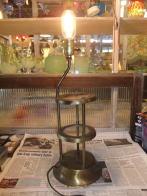 米国製 1950s真鍮&ガラススタンドライト アンティーク照明 ビンテージライト デスクランプ 福岡