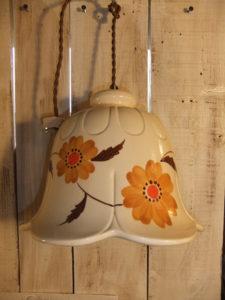 1970's磁器製ペイント」ペンダントライト アンティーク照明 ビンテージ ランプ